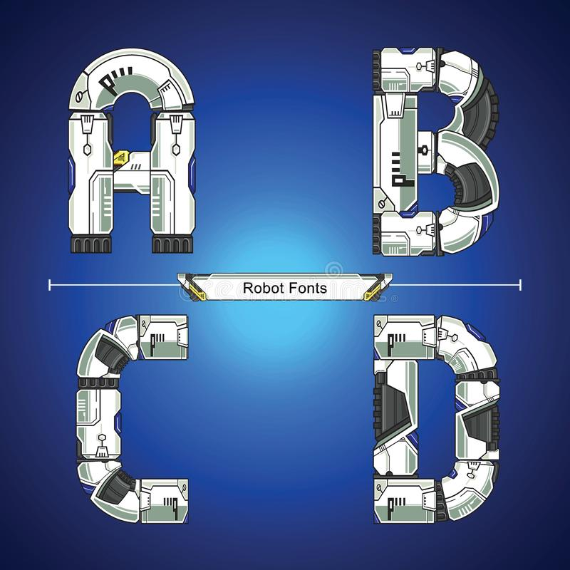 Alphabet Robot futuristic technology style in a set ABCD. Vector graphic alphabet in a set A,B,C,D, with Abstract Robot white set style futuristic technology and royalty free illustration