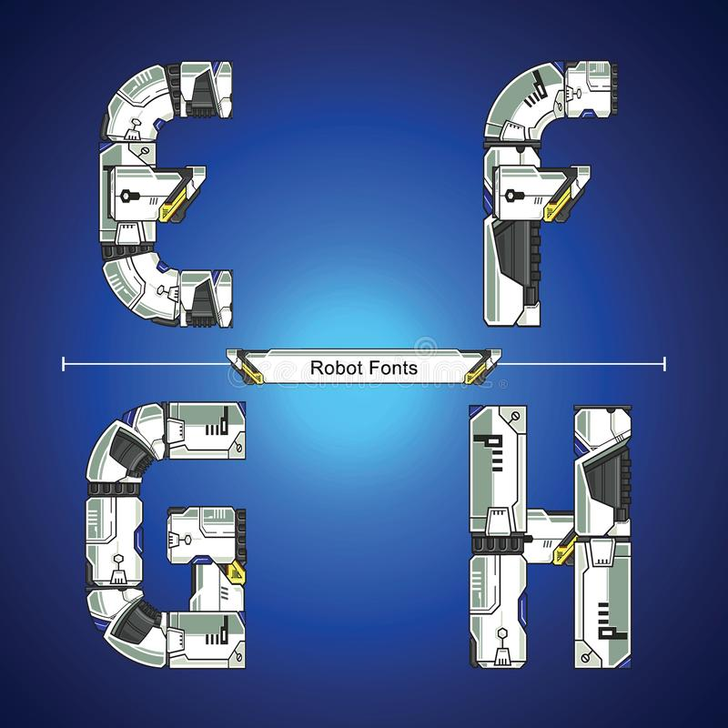 Alphabet Robot futuristic technology style in a set EFGH. Vector graphic alphabet in a set E,F,G,H, with Abstract Robot white set style futuristic technology and royalty free illustration