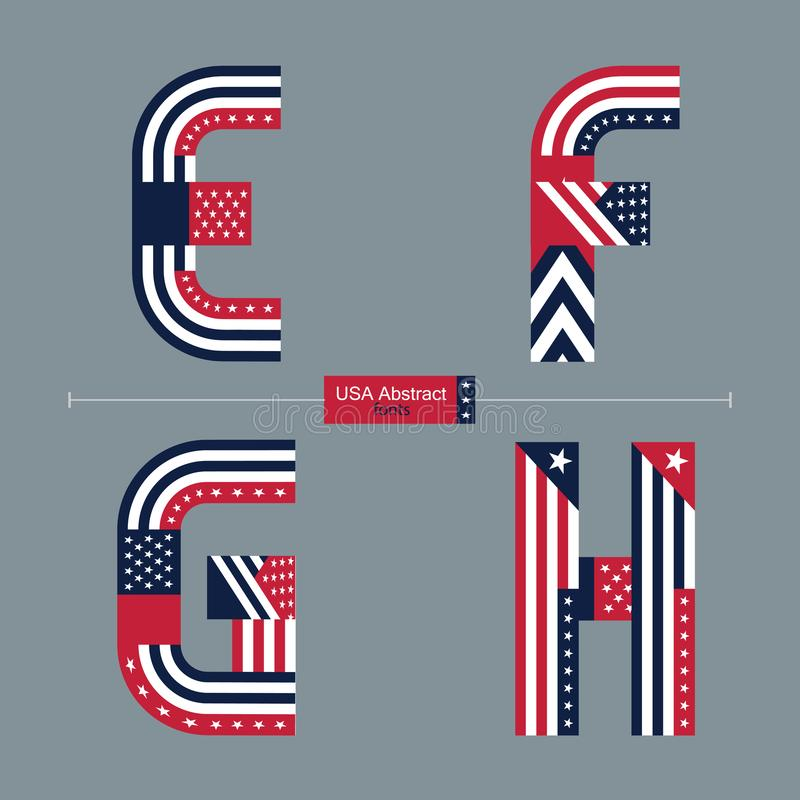 Alphabet USA flag abstract style in a set EFGH royalty free illustration