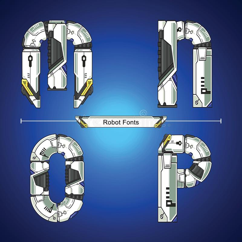 Alphabet Robot futuristic technology style in a set MNOP. Vector graphic alphabet in a set M,N,O,P, with Abstract Robot white set style futuristic technology and vector illustration