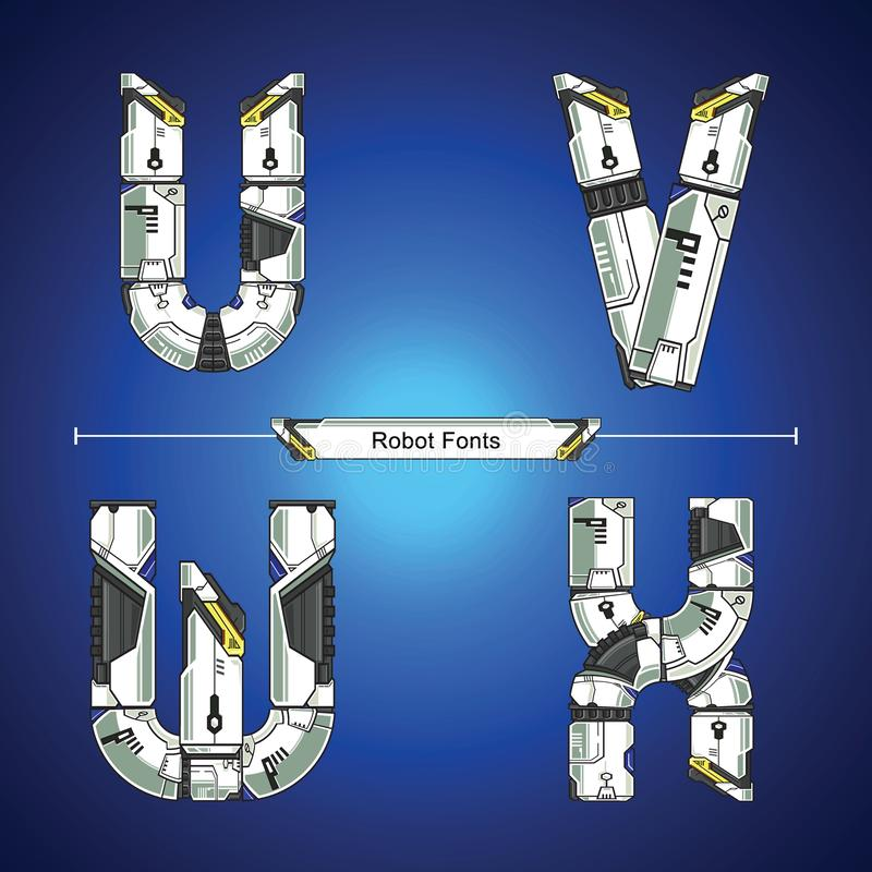 Alphabet Robot futuristic technology style in a set UVWX. Vector graphic alphabet in a set U,V,W,X, with Abstract Robot white set style futuristic technology and stock illustration