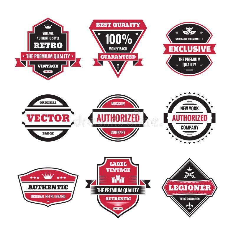 Vector graphic badges collection. Original vintage badges. stock illustration