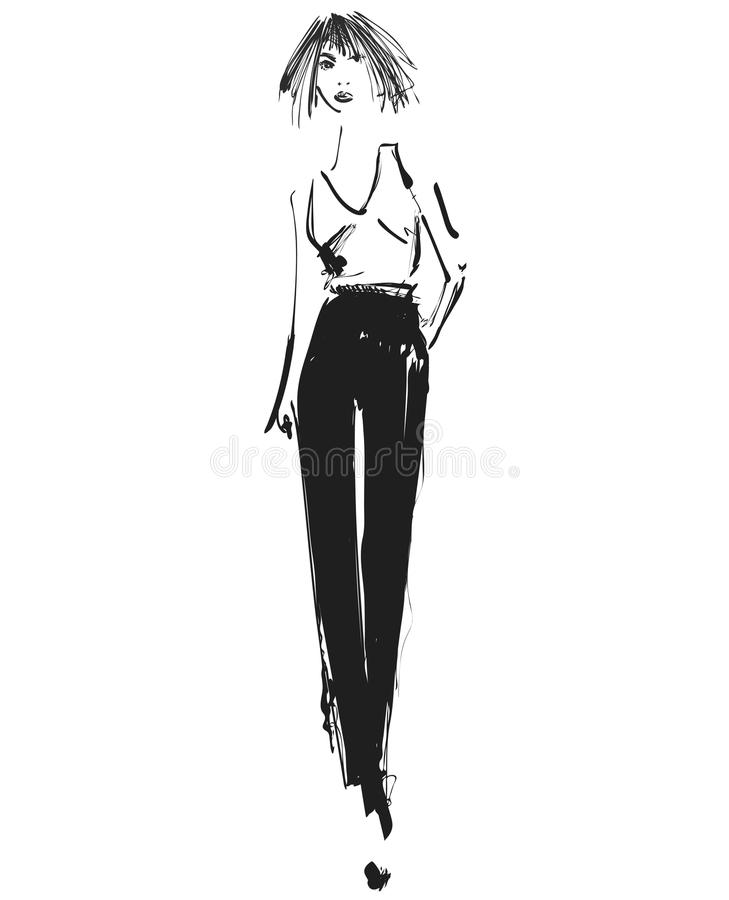 VECTOR graphic with beautiful young girl model for design. Fashion, style, youth, beauty .Graphic, sketch drawing. Pants vector illustration