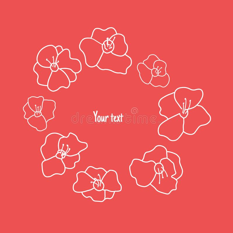 Vector graphic circle border or frame from poppy flower with brush composition. Isolated. Hand drawn illustration vector illustration