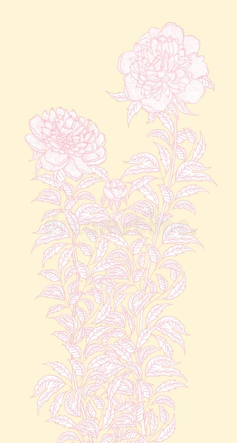 Vector graphic detailed drawing depicting a peony bush stock illustration