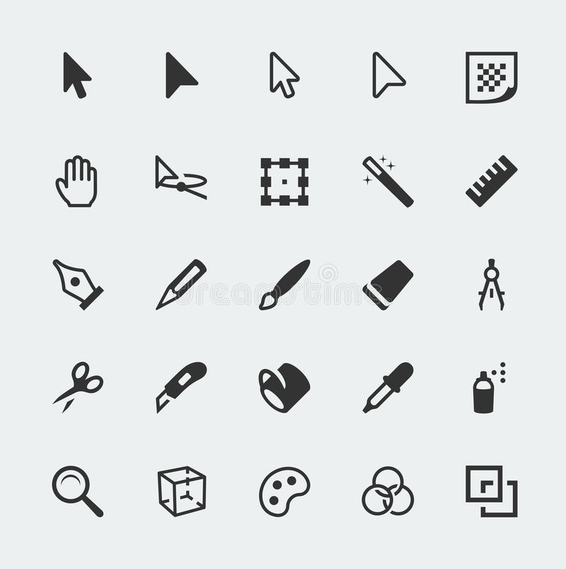 Vector graphic editor icons set stock illustration