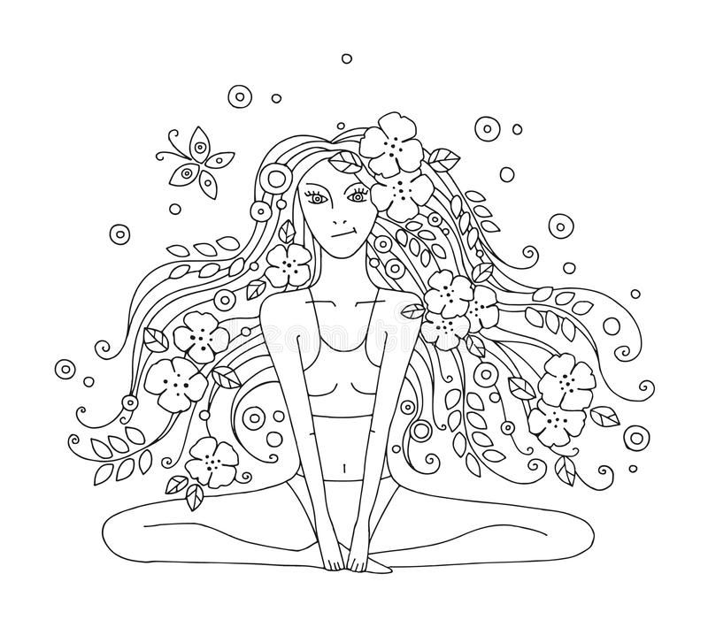 Vector graphic hand drawn illustration of young beautiful girl with long hair with flowers, leaves, butterfly. Woman doing yoga in royalty free illustration