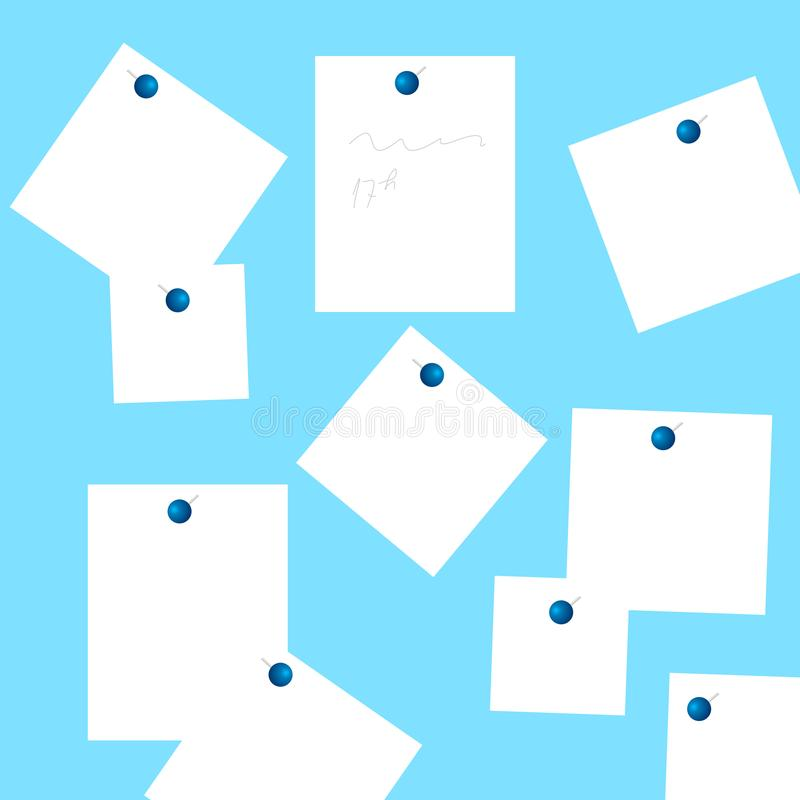 Set of white stickers pinned on the blue background. royalty free illustration