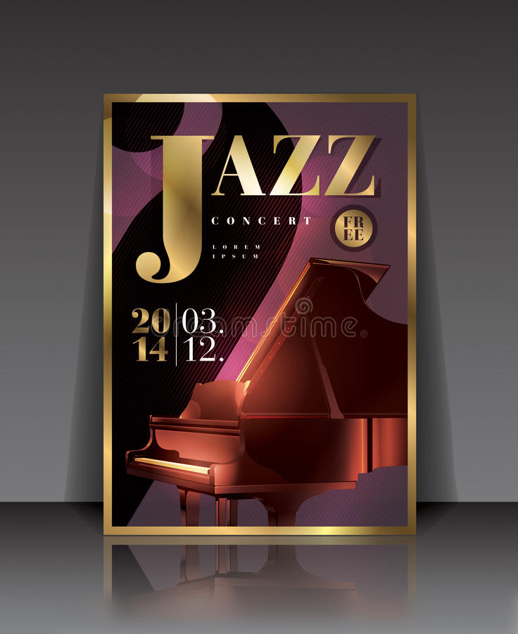 Vector graphic illustration jazz concert poster with piano in brown color. Jazz Orchestra - illustration, poster with a piano on it royalty free illustration