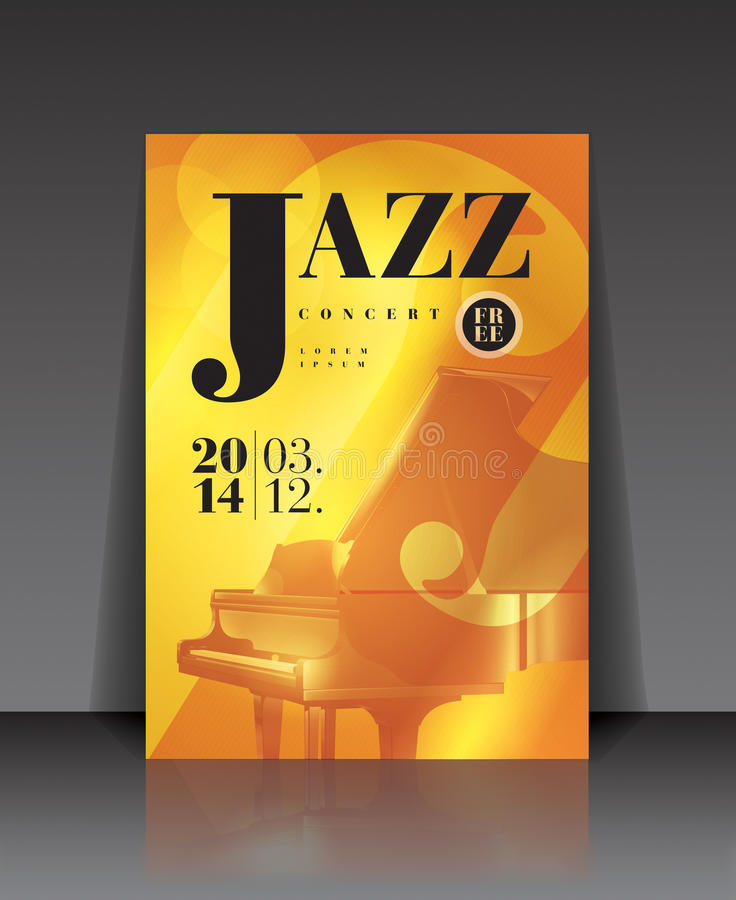 Vector graphic illustration jazz concert poster with piano in brown color. Jazz Orchestra - illustration, poster with a piano on it stock illustration