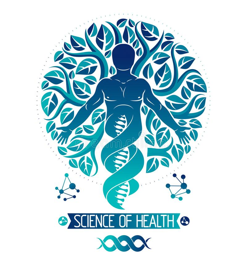 Vector graphic illustration of muscular human depicted as DNA symbol continuation and created with ecology tree leaves. Green stock illustration