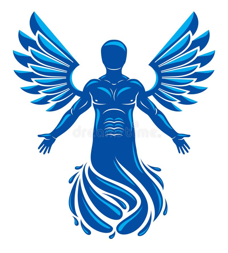 Vector graphic illustration of muscular human, individual made w vector illustration
