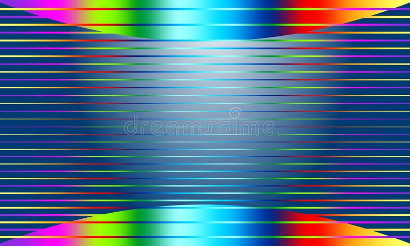 Abstract blue vector background with shape and lines of rainbow colors. stock illustration