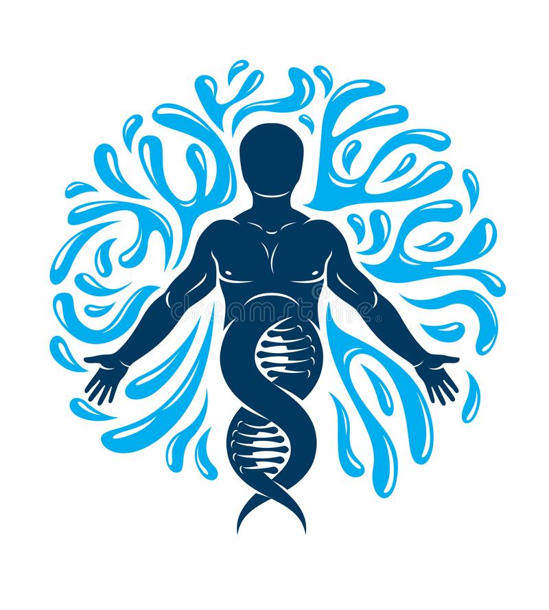 Vector graphic illustration of strong male created as scientific model of human DNA and surrounded by a water ball. Environment. Conservation and protection stock illustration