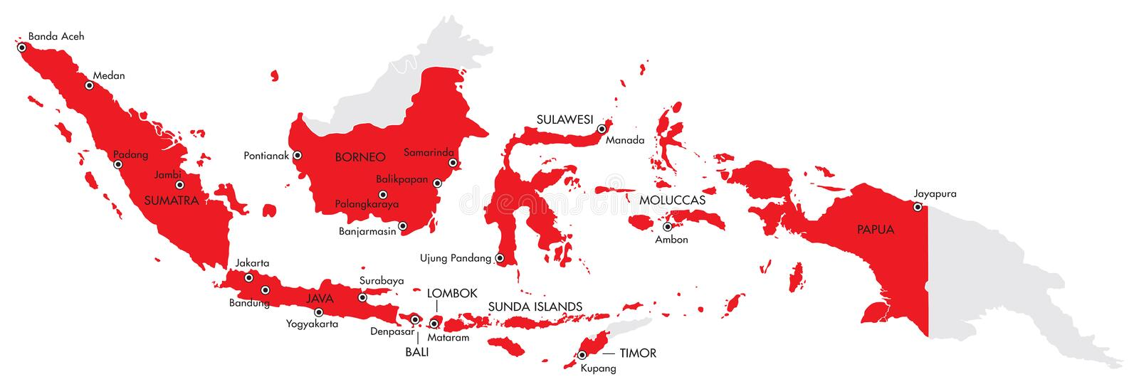 Vector Map Of Indonesia With Major Cities Stock Vector