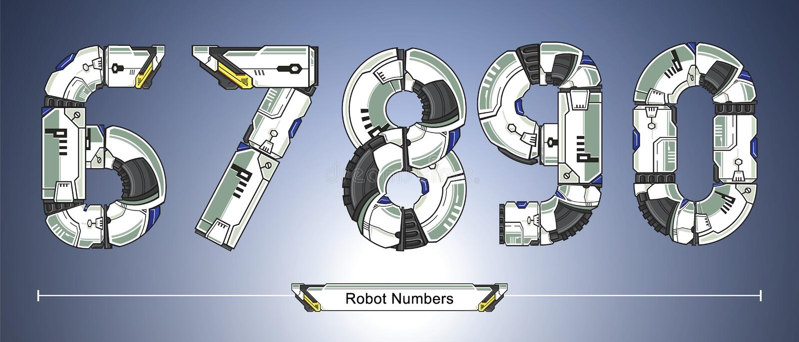 Numbers Robot futuristic technology style in a set 67890. Vector graphic numbers in a set 6,7,8,9,0 with Abstract Robot white set style futuristic technology and royalty free illustration