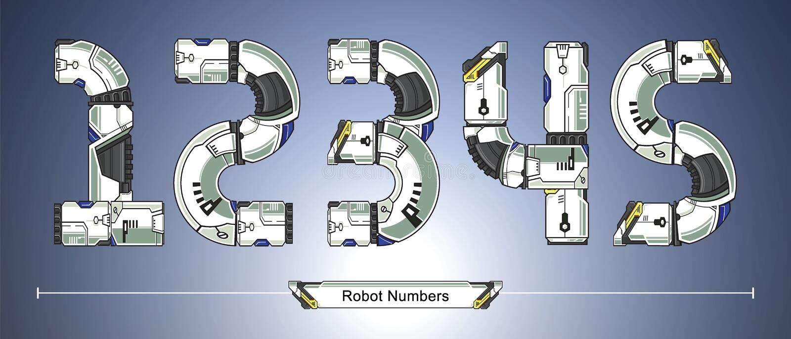 Numbers Robot futuristic technology style in a set 12345. Vector graphic numbers in a set 1,2,3,4,5 with Abstract Robot white set style futuristic technology and royalty free illustration
