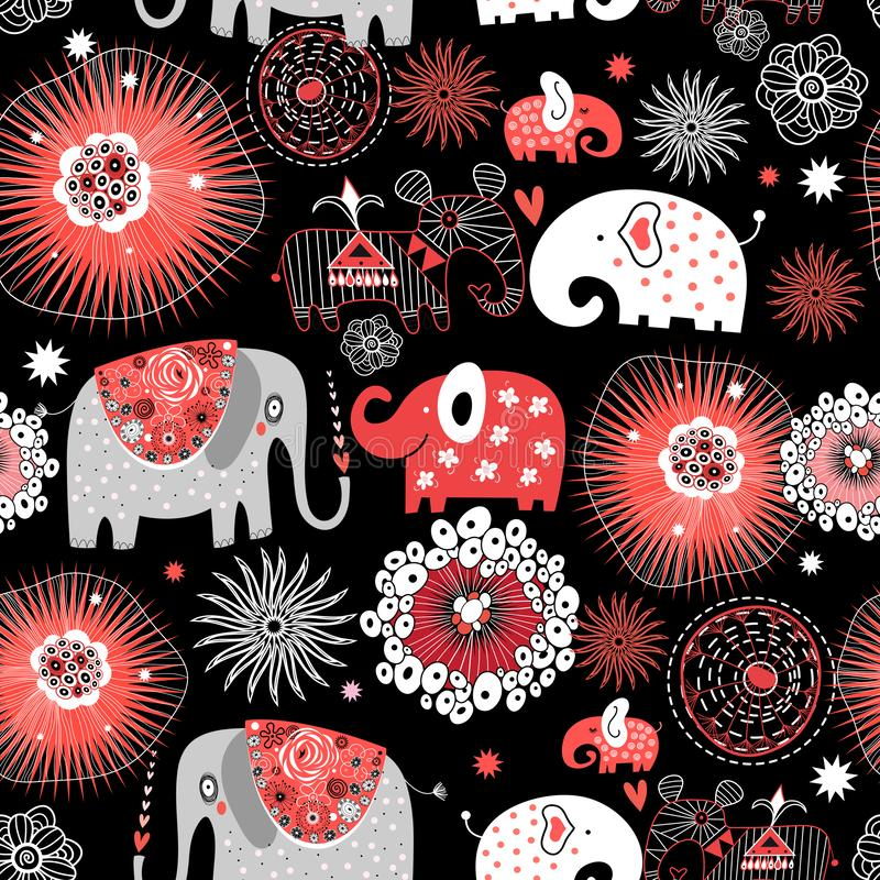 Vector graphic seamless pattern with love elephants royalty free illustration