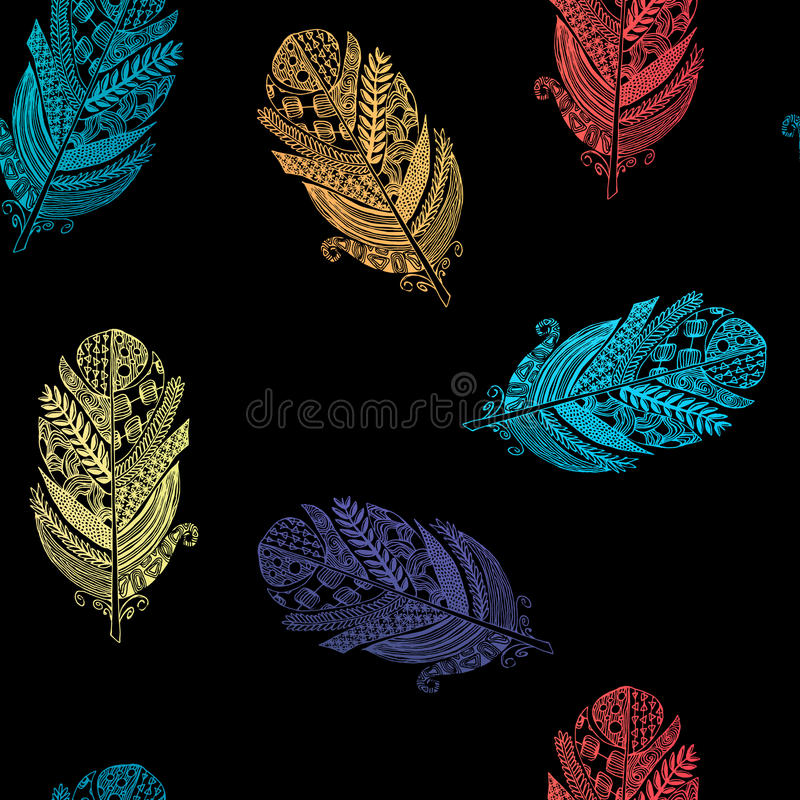 Vector graphic seamless pattern from silhouette bird feathers stock illustration