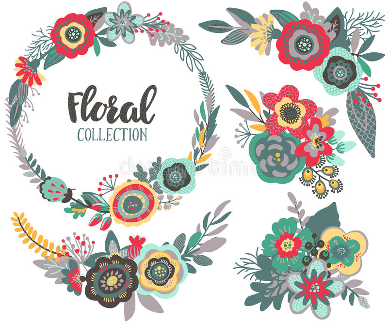 Vector graphic set with beautiful flowers, floral wreath, bouquets royalty free illustration