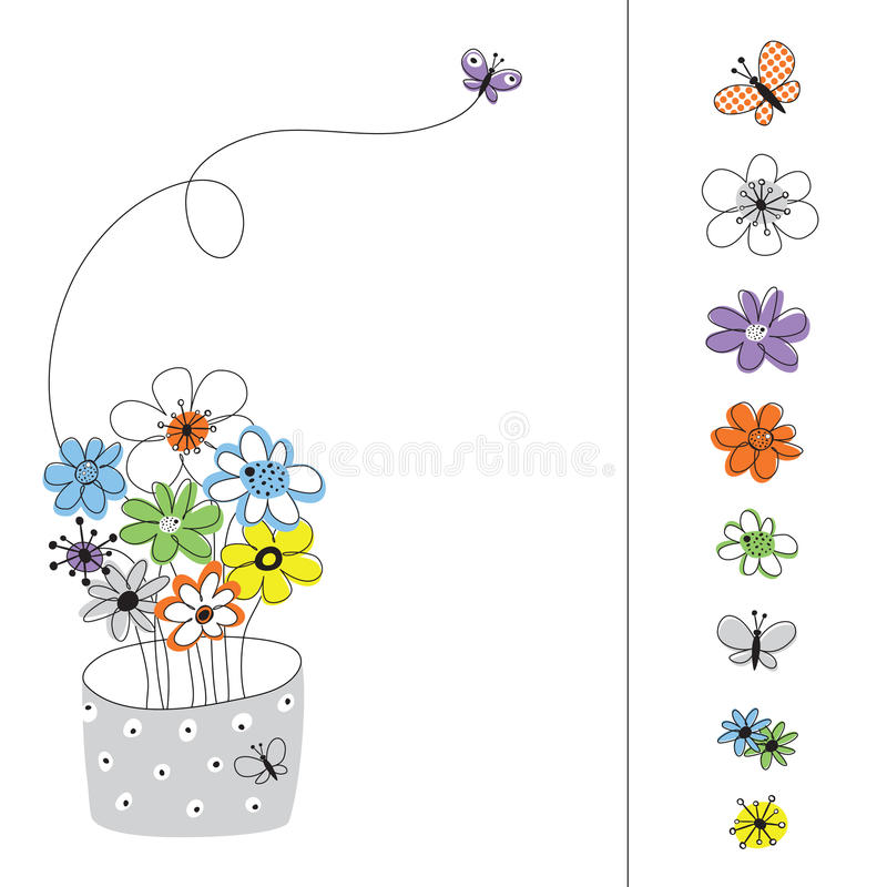 Vector graphic set with colored flowers