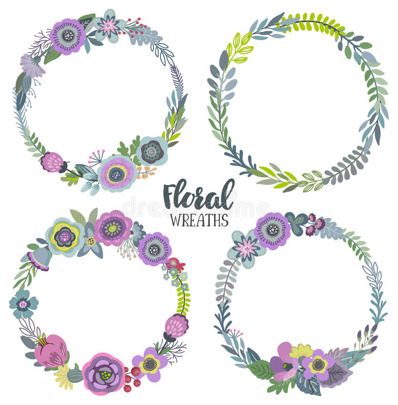 Vector graphic set with four beautiful floral wreaths. vector illustration