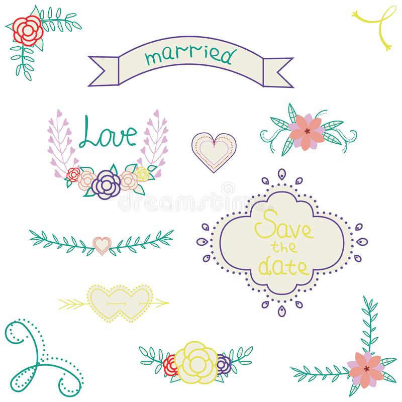 Vector graphic set of wedding design elements ribbon, arrow, hearts, wreaths, flowers and roses. royalty free illustration