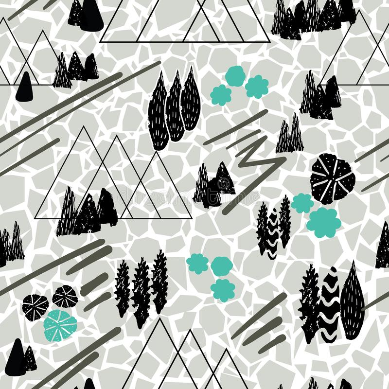 Vector graphic style mountain scene repeat seamless pattern background with a cracked soil texture. Gorgeous on fabric, wallpaper, royalty free illustration