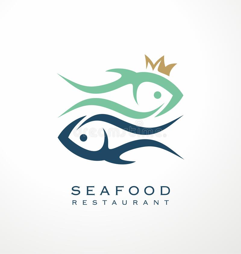 Fish Restaurant Abstract Vector Sign Symbol Or Logo Template:  Vector Graphic With Two Fish And A Crown Stock Vector