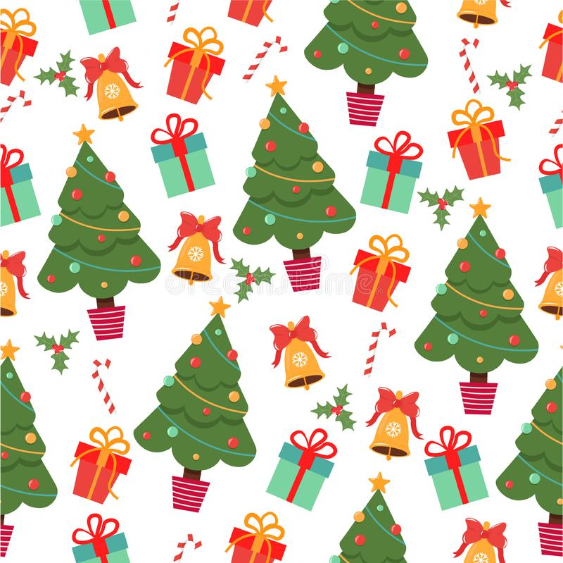 Cartoon pattern with Christmas attributes stock illustration