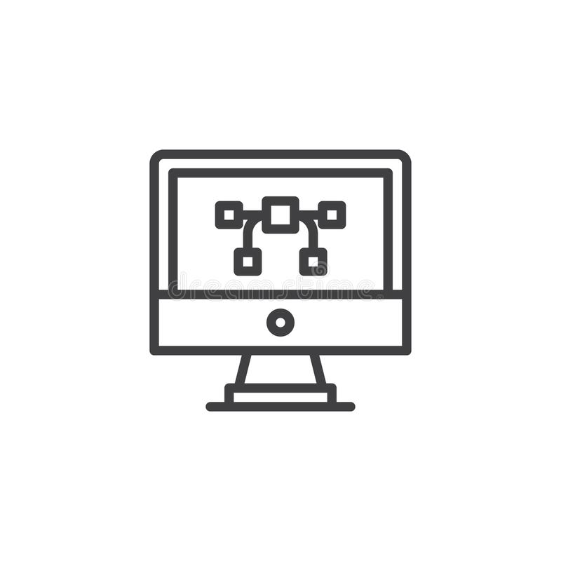 Vector graphics on computer monitor screen outline icon stock illustration
