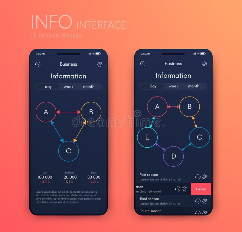 Vector graphics mobile infographics with three and five options. Template for creating mobile applications, workflow stock illustration