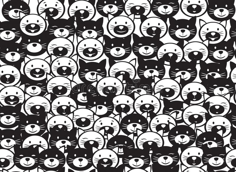 Vector grappig katten naadloos patroon vector illustratie