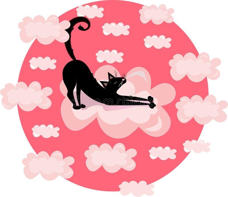 Vector grappige drukillustratie met zwarte kat, pot in de wolken Roze cirkelachtergrond vector illustratie