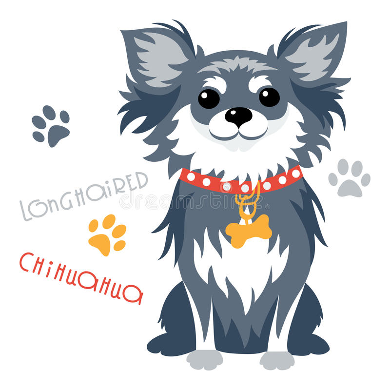 Vector grappige longhaired Chihuahua-hondzitting vector illustratie