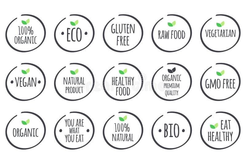 Vector graue Symbole mit grünen Blättern auf Weiß Gesunde Lebensmittellogos lizenzfreie abbildung