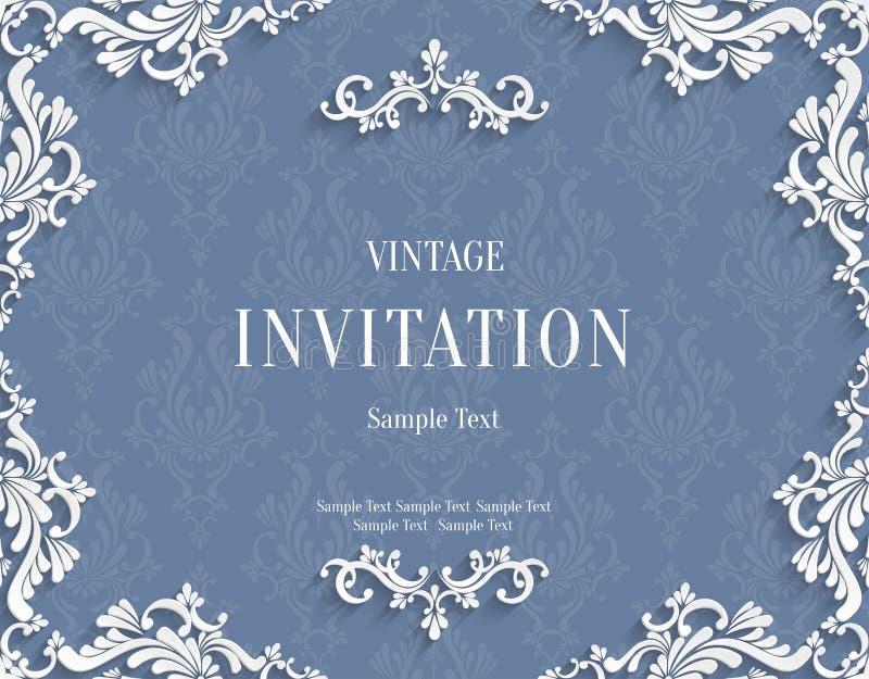 Vector Gray 3d Vintage Invitation Card with Floral Damask Pattern vector illustration