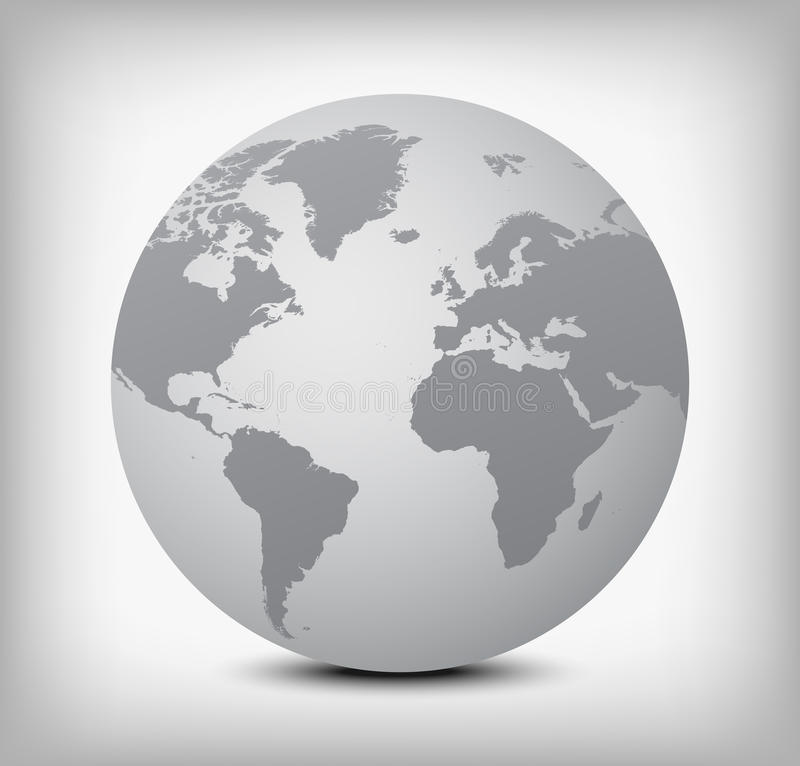 Vector gray globe icon on light gray. Gray globe icon with soft shadow on light gray background stock illustration