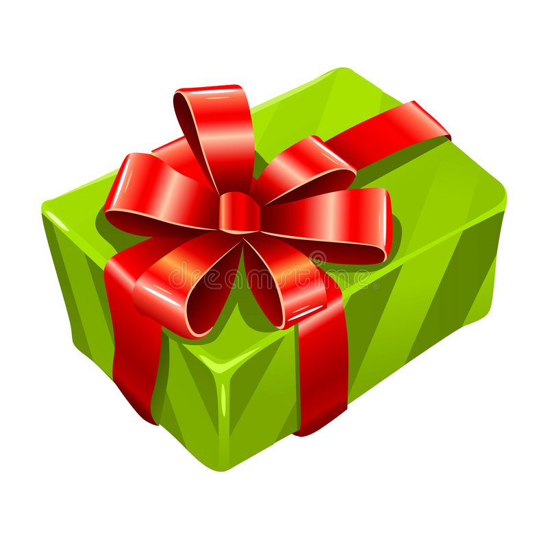Vector gree gift box isolated stock illustration