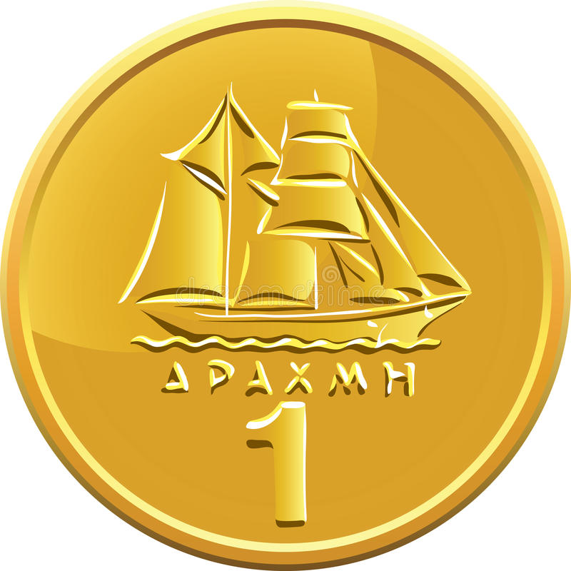 Vector Greek money gold coin featuring ship stock images