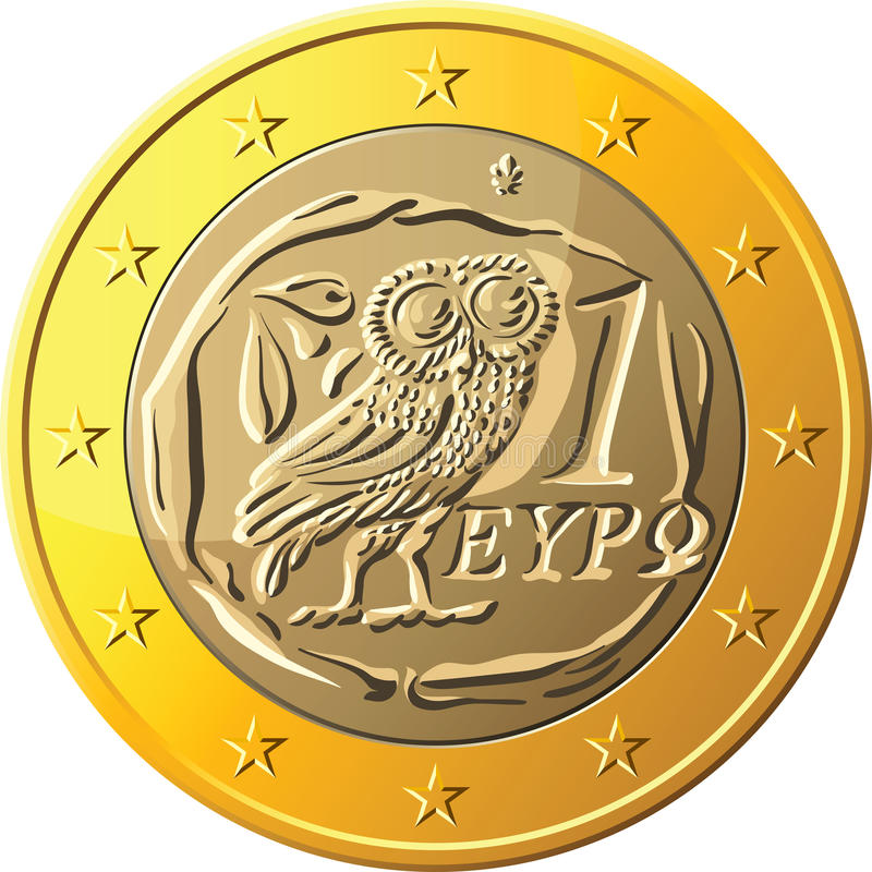 Vector Greek money gold coin one euro featuring owl royalty free stock images