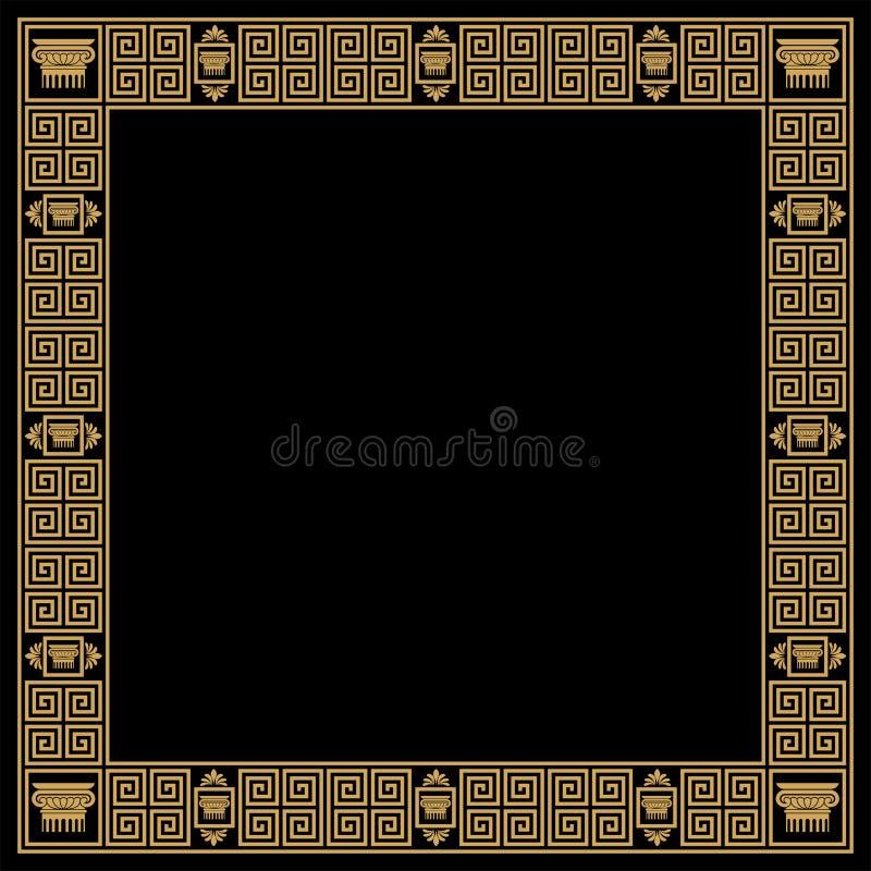 Vector Greek ornament. Set of seamless vintage Greek ornament. Golden pattern on a black background vector illustration