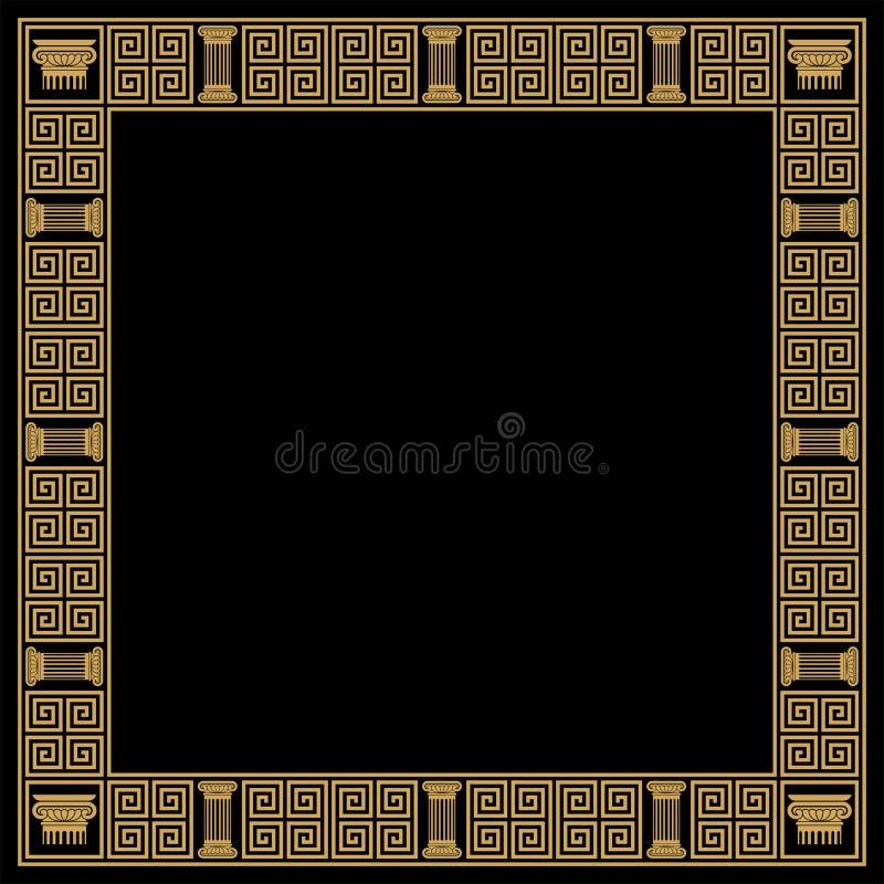 Vector Greek ornament. Greek style frame with vintage ornament. Golden pattern on a black background royalty free illustration