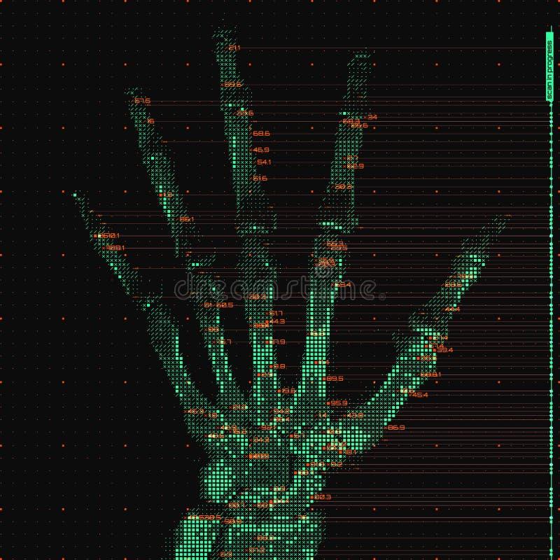 Vector green abstract hand tomography analysis illustration. Digital palm x-ray scan. Medical data MRI visualization stock illustration