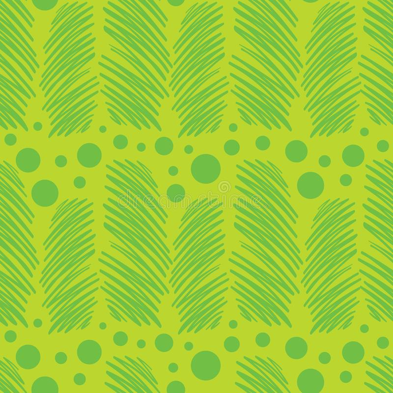 Vector green abstract scribble lines with polka. Dots seamless pattern background. Perfect use for fabric, wrapping paper, stationery, packaging projects etc stock illustration