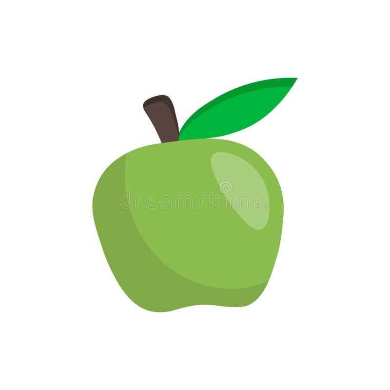 Vector green apple illustration isolated on white background. Simple fruit flat icon royalty free illustration
