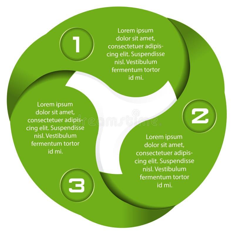Vector green background of a three level circular scheme stock illustration