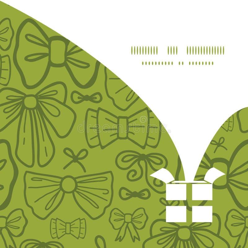 Vector green bows Christmas gift box silhouette vector illustration