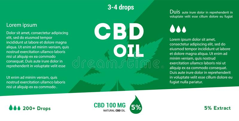 Vector green cannabis oil. CBD Oil. Marijuana leaf label stock illustration