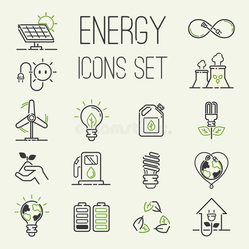 Vector green eco energy icons set energy icons power set battery oil environment nature. Nuclear house atom renewable royalty free illustration